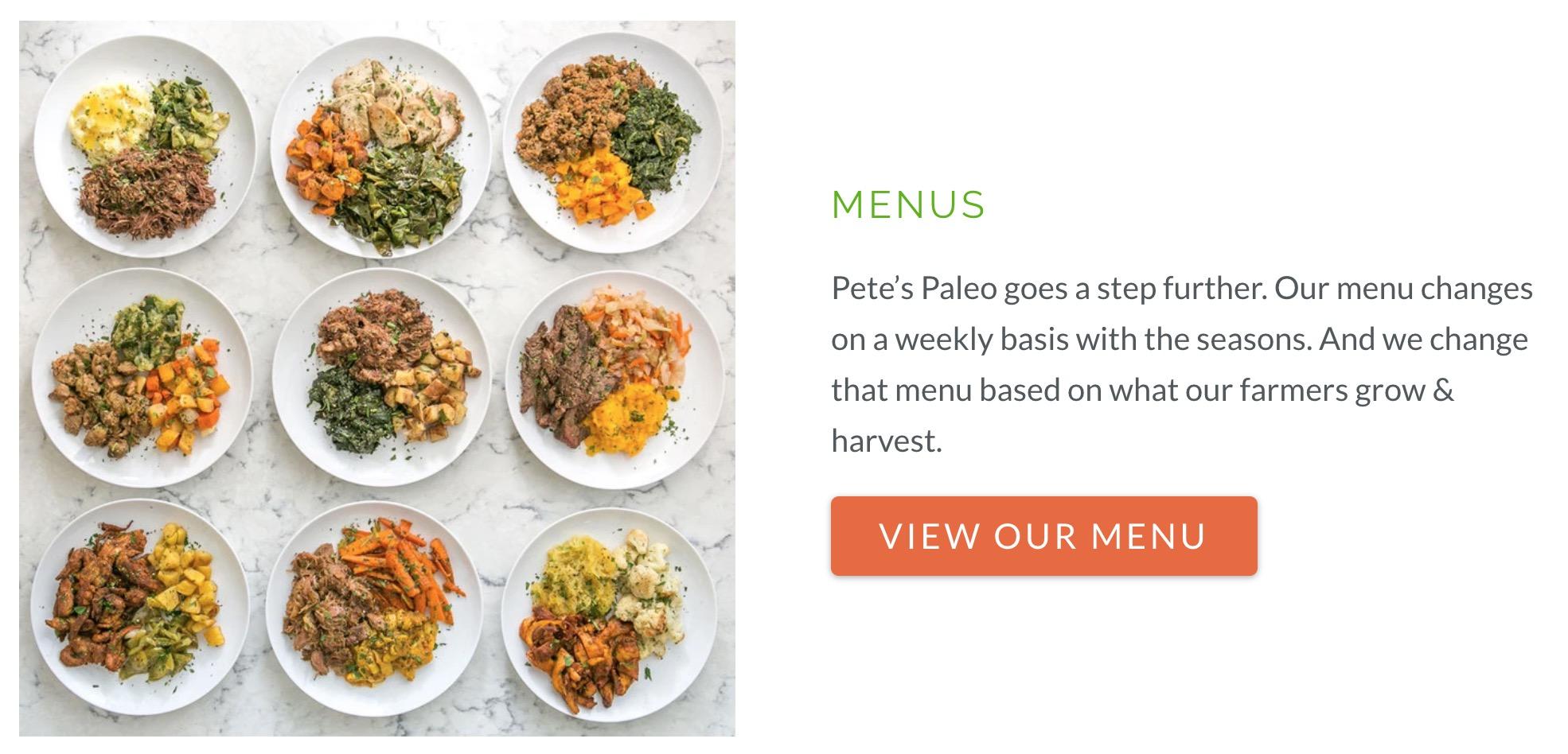 Petes Paleo menu