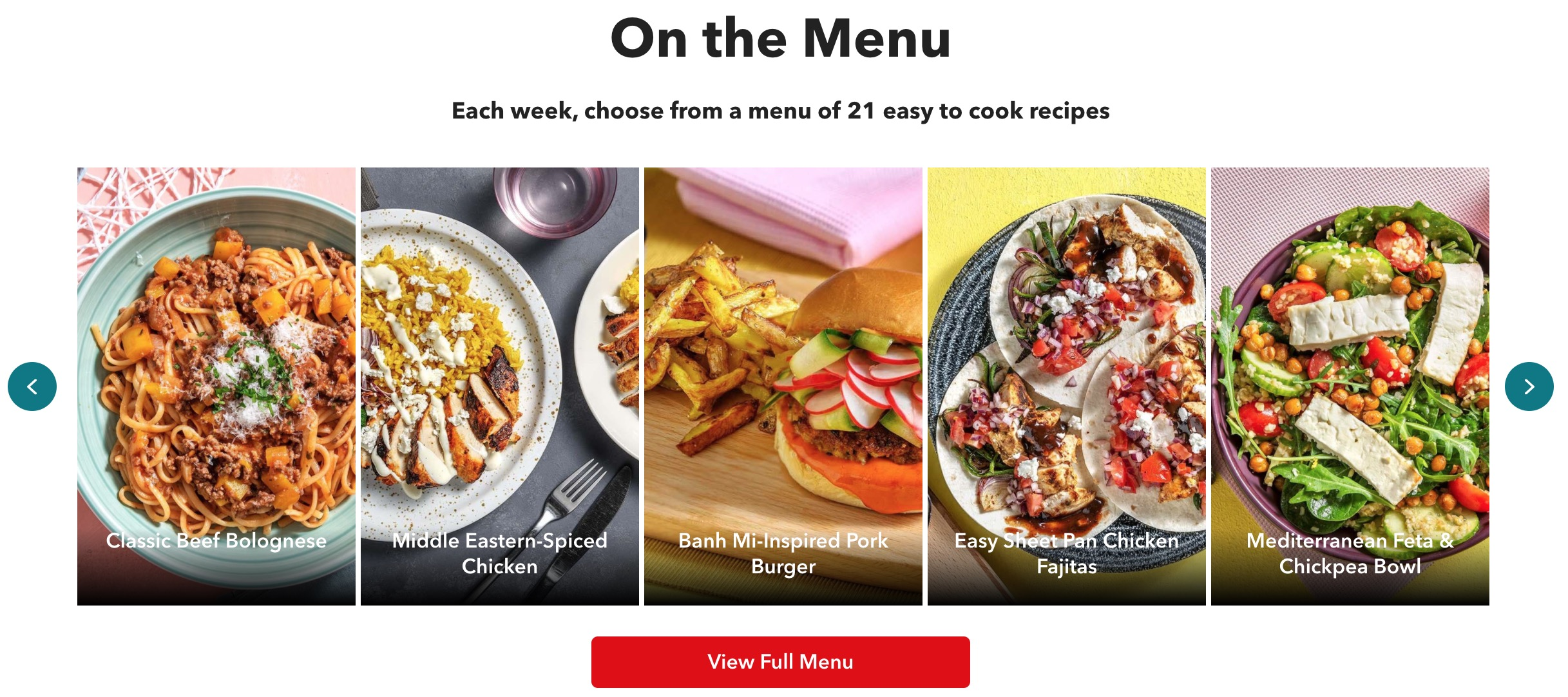 ChefsPlate menu